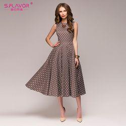 S.FLAVOR Vintage dress 2018 Summer New sleeveless O-neck vestidos Women elegant thin dot printing Mid-Calf casual dress Female