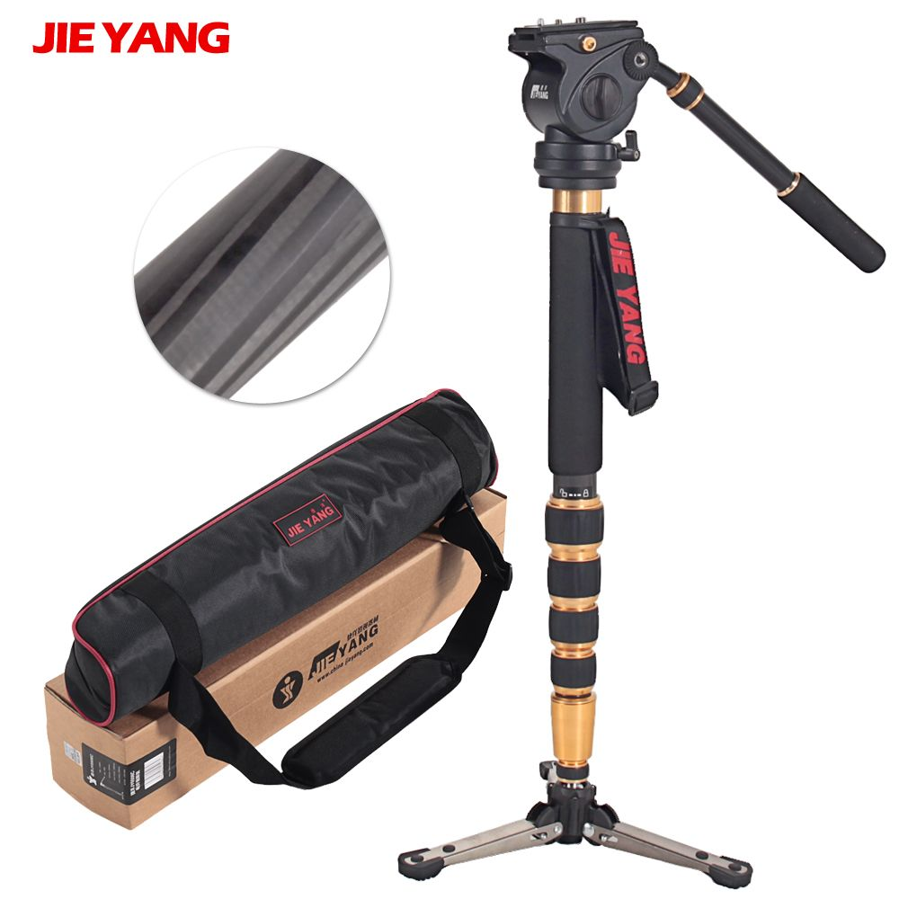 JIEYANG JY0506C Carbon Fiber Professional Monopod Light-weigh For Video & Camera Video Tripod 5KG Load