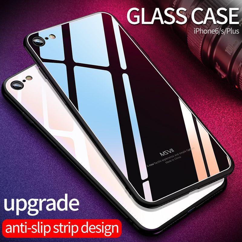 MSVII pour iPhone8 Verre Cas pour iPhone 8 Cas pour iPhone 8 7 Plus De Luxe De Protection Couverture Arrière pour iPhone X 6 6 s Antichoc