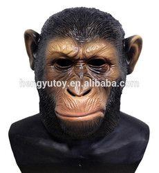 Realistis Indah Simpanse Hewan Fancy Dress Ape Kostum Lateks Kepala Masker