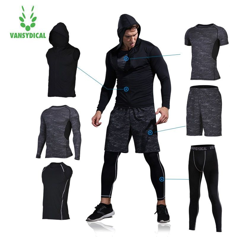 Vansydical Mens Sport Running Suits Man Training Suits 6pcs Compression Sports Suits Basketball Tights Clothes Gym Sportswear