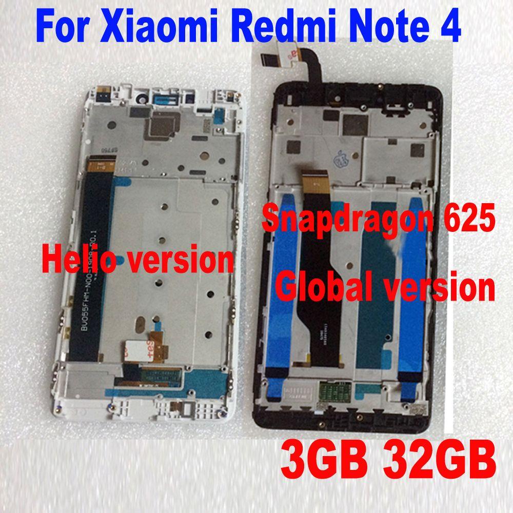 LTPro MTK Helio X20 version/mondial version 32 GB/64 GB LCD Affichage à L'écran Tactile Digitizer Assemblée + cadre Pour Xiaomi Redmi Note 4
