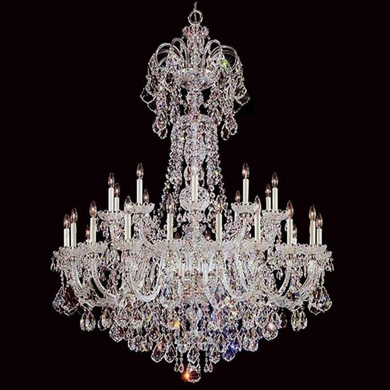 Große Kristall Kronleuchter Licht Luxus Kronleuchter Lampe Klar Farbe Beleuchtung Glanz E14 E12 Lampe für wohnzimmer Schlafzimmer Hotel