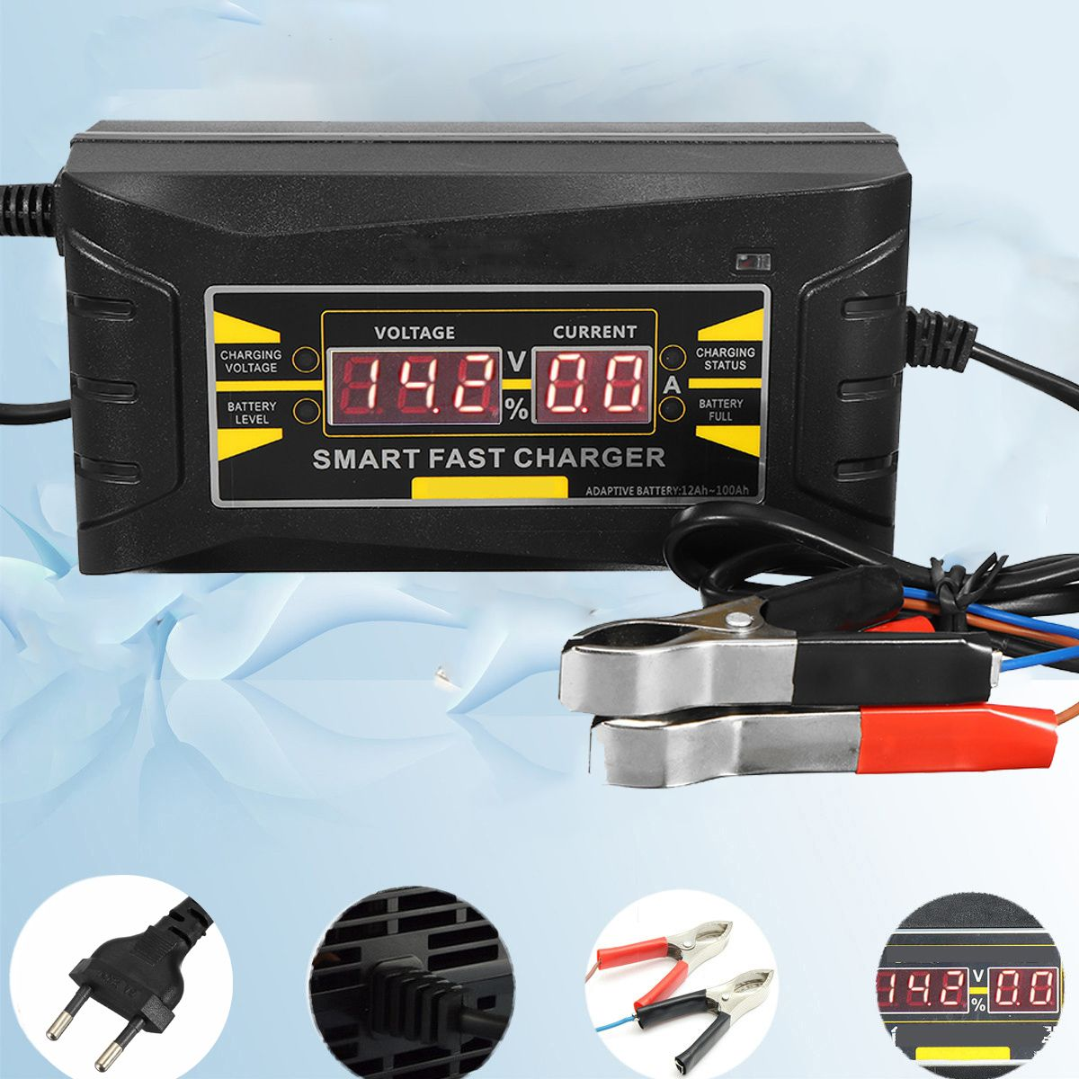 Full Automatic Car Battery Charger 110V/220V To 12V 6A Digital display Smart Fast Power Charging for Car Motorcycle