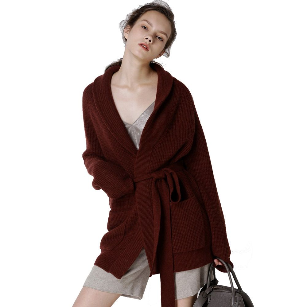 Cardigan Women 2018 High-End Autumn Winter Cashmere Wool Open Stitch with Belt Thicken Sweater Cardigans Long Coat Outwear