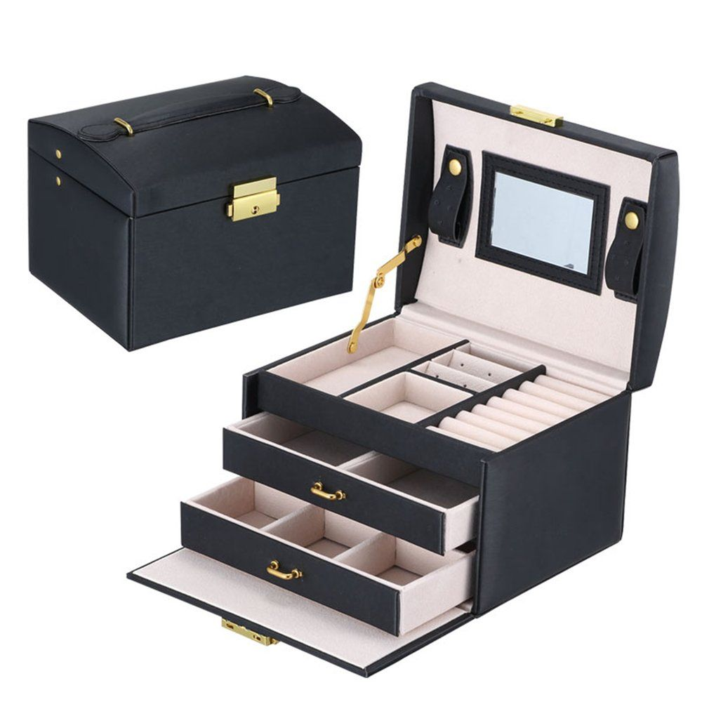 GENBOLI Jewelry Box 3 Layers 2 Drawers Makeup Carrying Case Gifts Organizer Holder Storage Jewelry Packaging Box Casket
