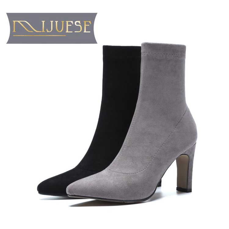 MLJUESE 2019 women Mid calf boots Gray color slip on pigskin insole pointed toe autumn spring women martin boots casual boots