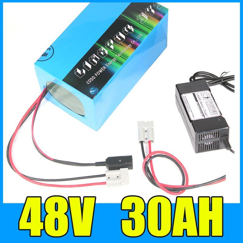 Freies Steuer 1800 watt 48 v 30AH Elektrische Fahrrad Batterie 48 v 30AH High power E-bike Batterie 48 volt Lithium-Batterie mit 50A BMS 3A Ladegerät