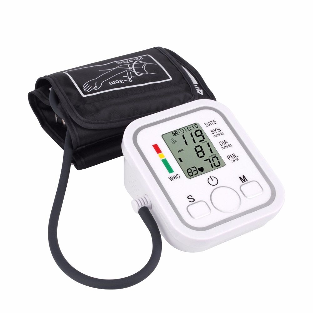 <font><b>Upper</b></font> Arm Blood Pressure Monitor Portable tonometer health care bp Digital Blood Pressure Monitor meters sphygmomanometer