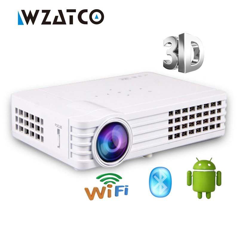 Wzatco 900 Вт Android Bluetooth, Wi-Fi AirPlay Miracast 1080 P Портативный светодиодный DLP Active 3D проектор HD домашний Театр proyector beame