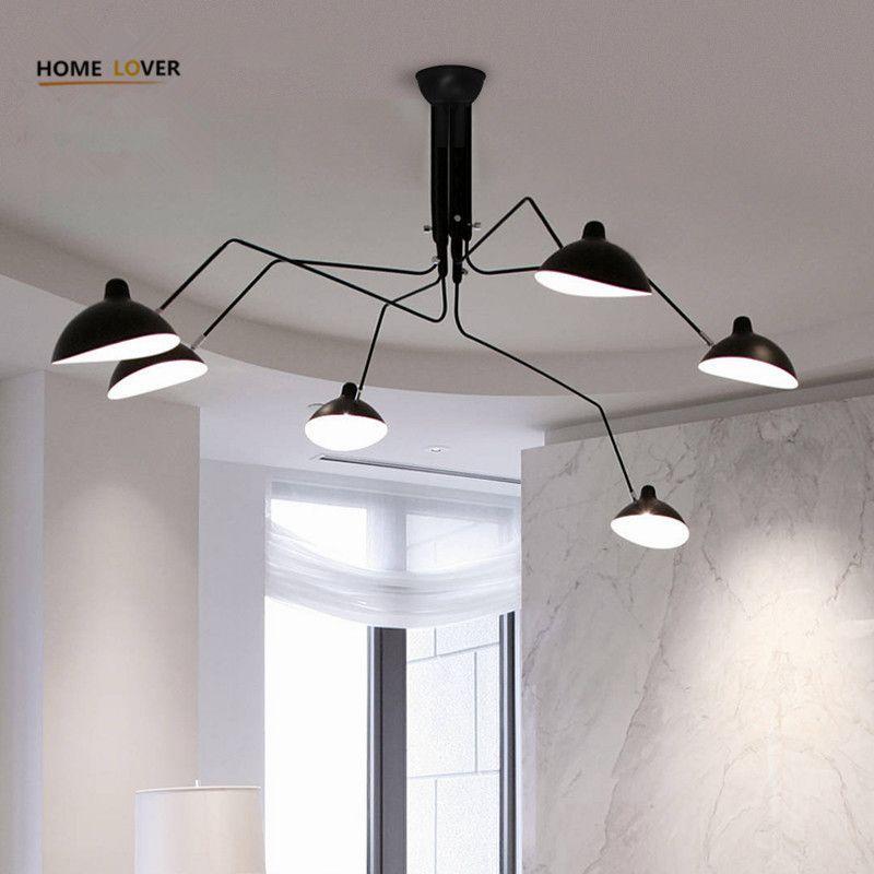 Living room ceiling lamp for home lighting Black 3/6 Lights luminaria led Bedroom Kitchen Vintage ceiling lights Plafon led