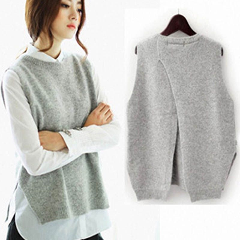 New Women Autumn Knitted Sleeveless Back Split Sweater Vest Female Casual Pullovers Loose Spring Waistcoat Vest Tops