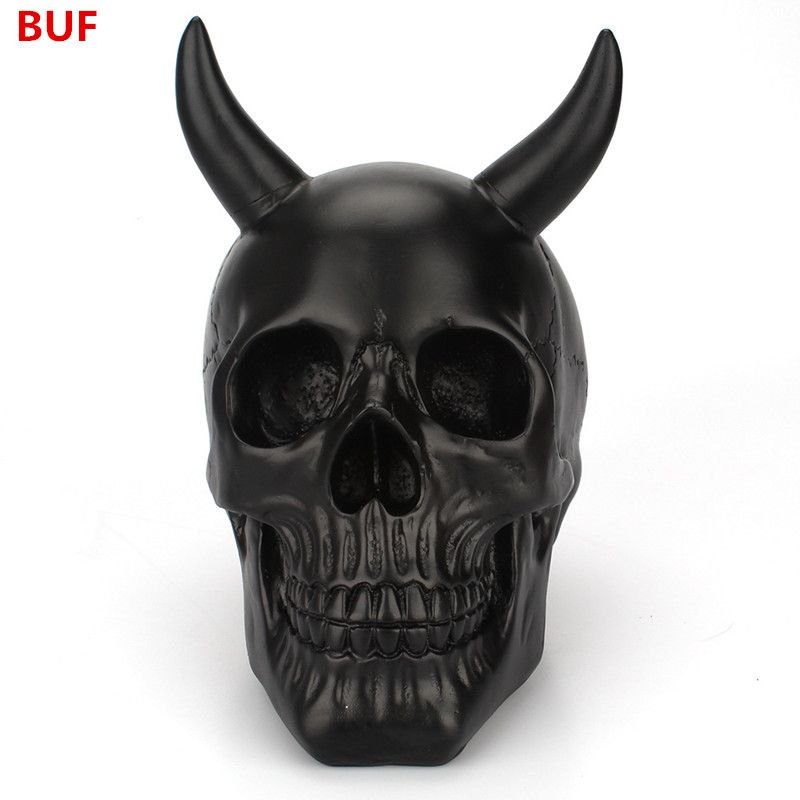 Resin Craft Black Skull Creative Skull Statues For Decoration Home Decoration Accessories Statue Sculpture Halloween Decoration
