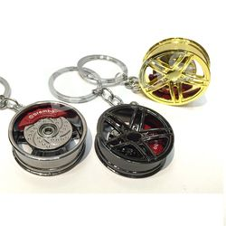 1pc Car wheel keychain key ring Alloy with Brake discs Auto Part Model Car Keyring turbo keychain