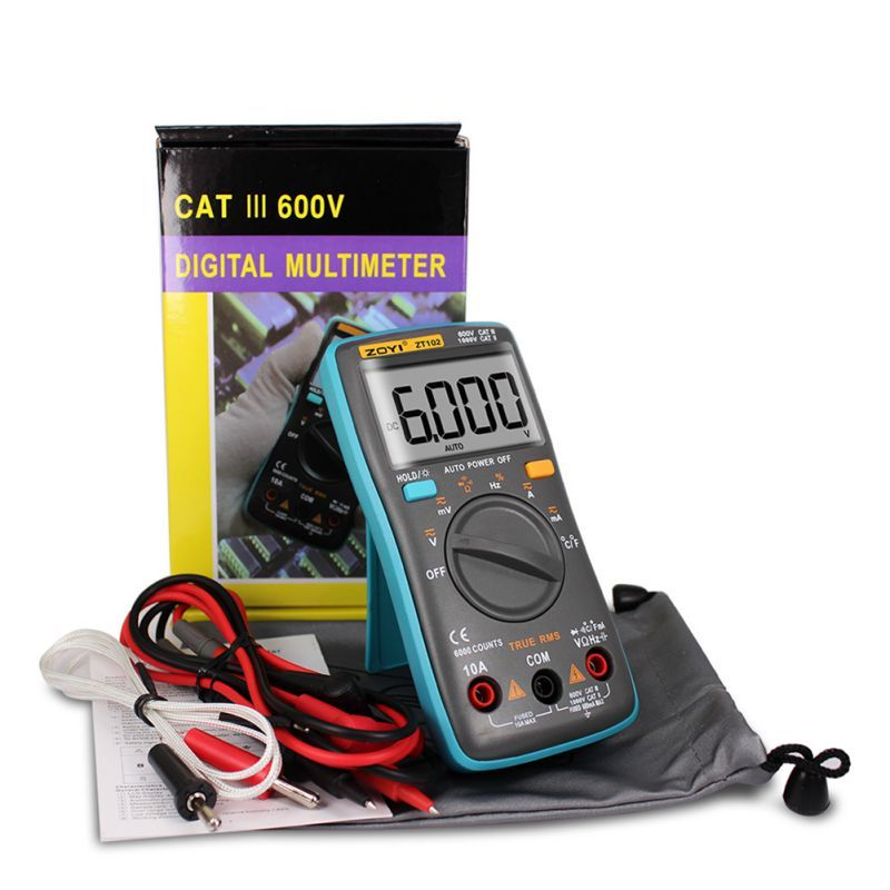 High Quality ZT102 Multimeter 6000 counts Back light AC/DC Ammeter Voltmeter Ohm Frequency <font><b>Diode</b></font> Temperature multimetro