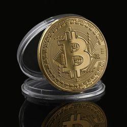 Plata/oro plateado una moneda BTC Bitcoin moneda Colección Arte regalo colección física moneda colección gota decoración del hogar