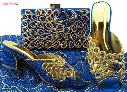 doershow Italian shoe with matching bag set with royal blue and diamonds for party African women shoe and bag to match set BB1-5