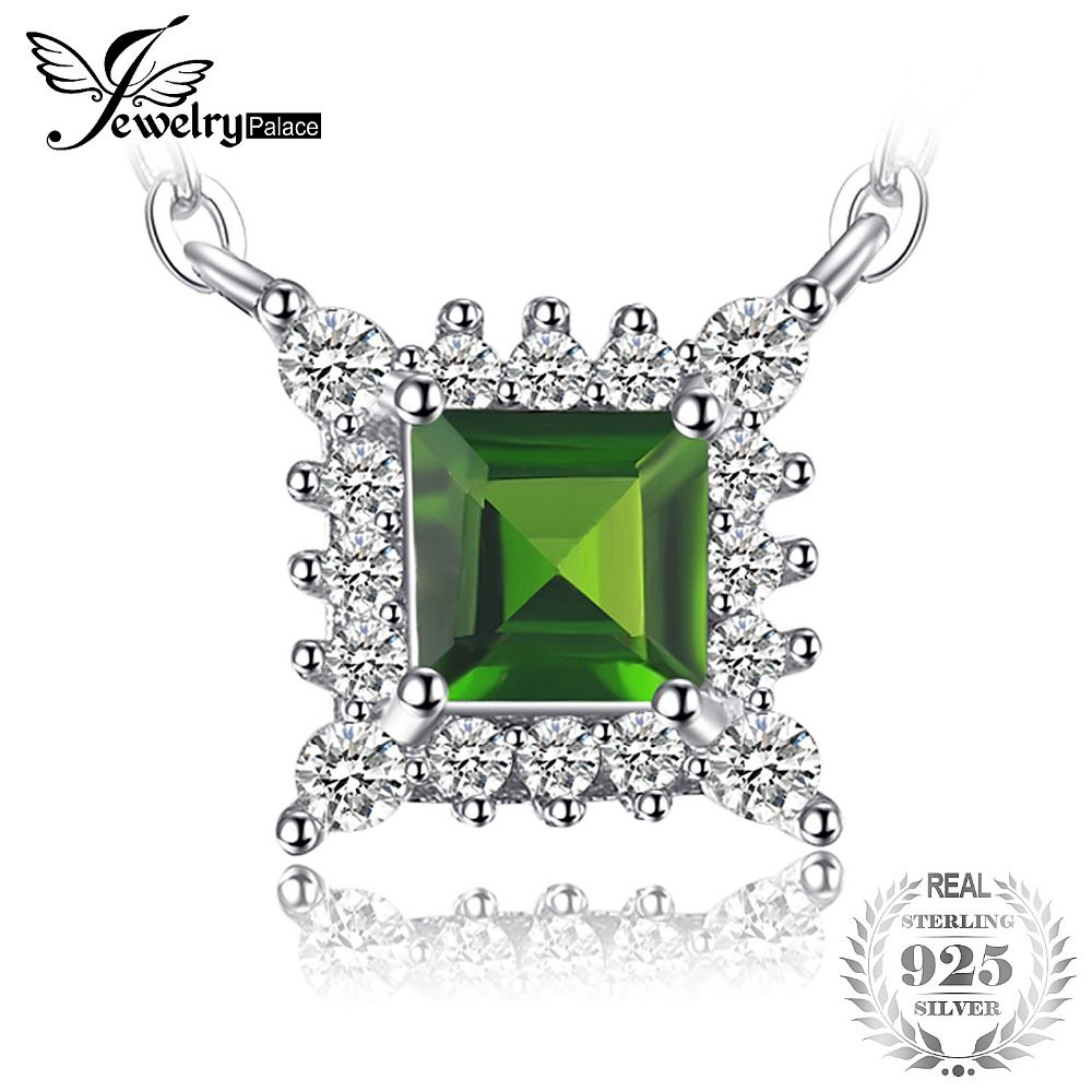 JewelryPalace Brand 0.47 ct Square Natural Chrome Diopside Necklace Pendant For Women 925 Sterling Silver Fashion Fine Jewelry