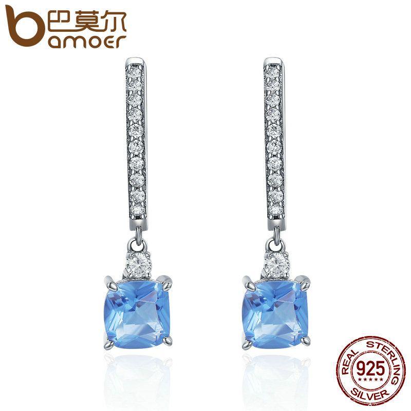 BAMOER Hot Sale 925 Sterling Silver Light Blue Square Clear CZ Hoop Earrings for Women Sterling Silver Jewelry Brincos SCE190