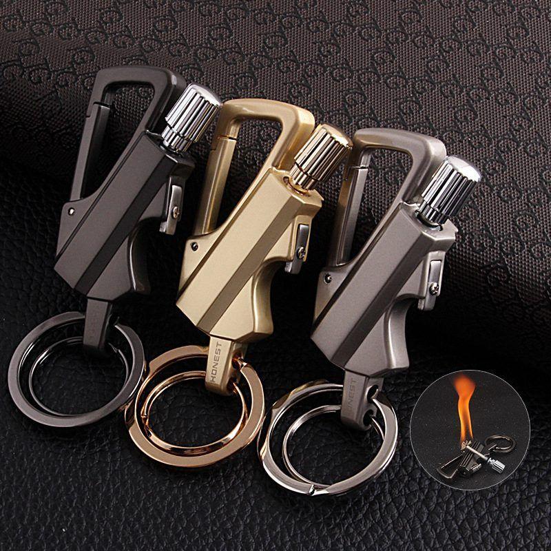 Allumettes kérosène briquet multi-fonction porte-clés extérieur étanche Portable métal porte-clés essence briquets bande décapsuleur
