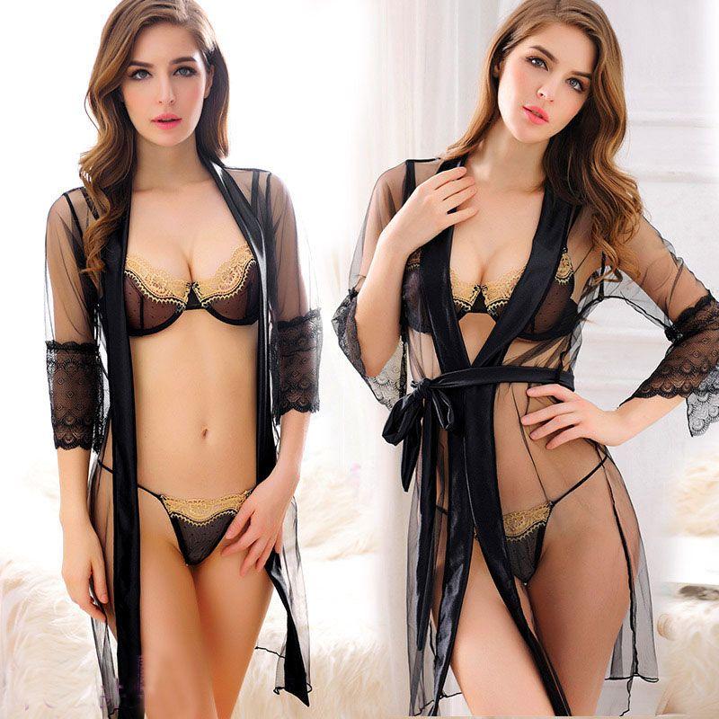Nouveau Porno Femmes Lingerie Sexy Chaude Érotique de Nuit Trois Pièces Tenue Sexy Érotique Sous-Vêtements Noir Maille Lingerie Porno Costumes