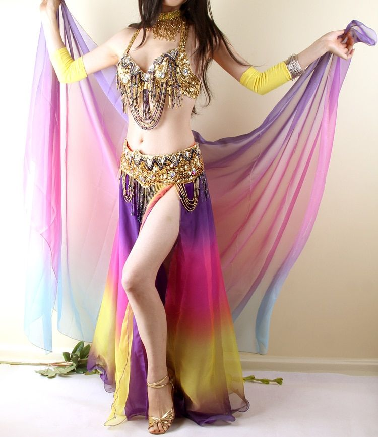 2017 New Bellydance 3 Pieces(bra +belt + Skirt) Gradient Belly Dance Costume Set Egypt Bollywood Indian Costumes Beading Wear