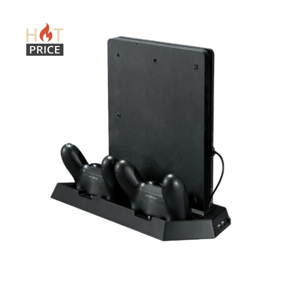 Alloyseed Game <font><b>Console</b></font> Stand For PS4 Slim <font><b>Console</b></font> Vertical Game <font><b>Console</b></font> Stand Dock With Dual Charging Station High Quality