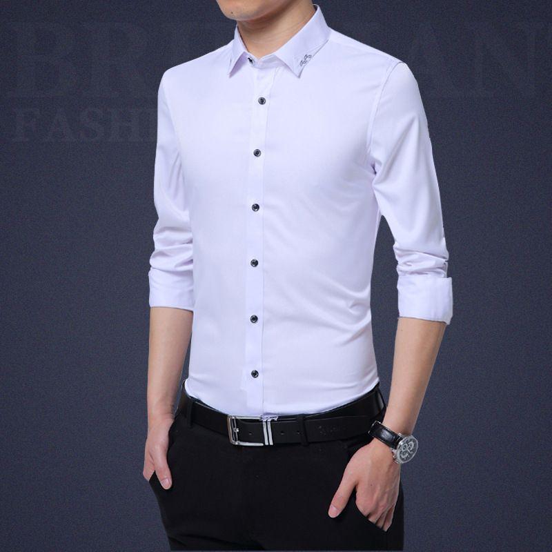 Корейских мужчин Тонкий белая рубашка и кофта с длинными рукавами 2018 г. Новая мужская рубашка