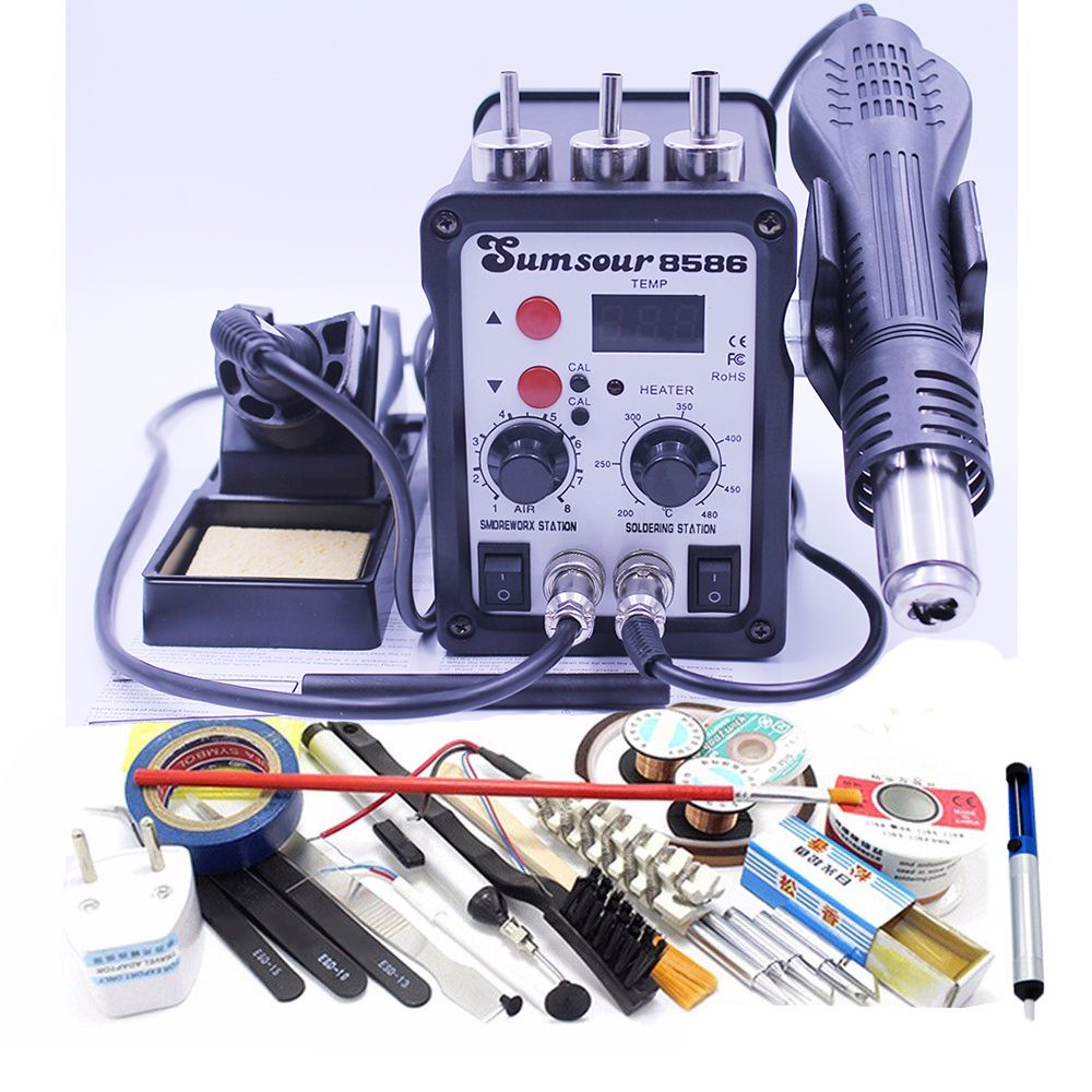 220V / 110V Thermostatic Electric Soldering Iron 2 In 1 Solder Station Hot Air Gun With Iron Tip Solder Wire Tweezers Heater