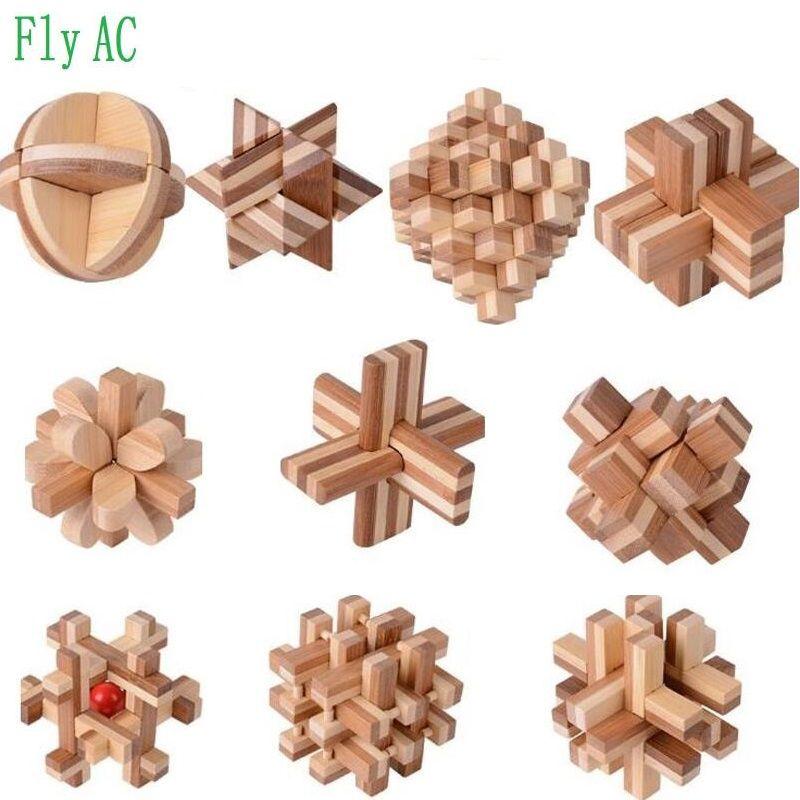 10 pcs/ensemble 3D à la main vintage Ming verrouillage Luban verrouillage Jouets Éducatifs En Bambou En Bois jouets adultes puzzle enfants cadeau D'anniversaire