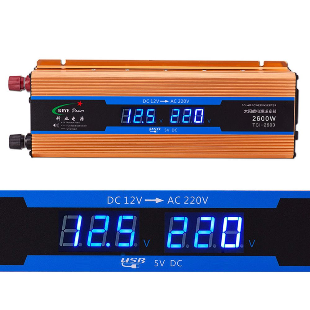 Car inverter 2600W dc 12V to ac 220V Digital display Voltage Modified Sine Wave Power Overload Protection CY901-CN