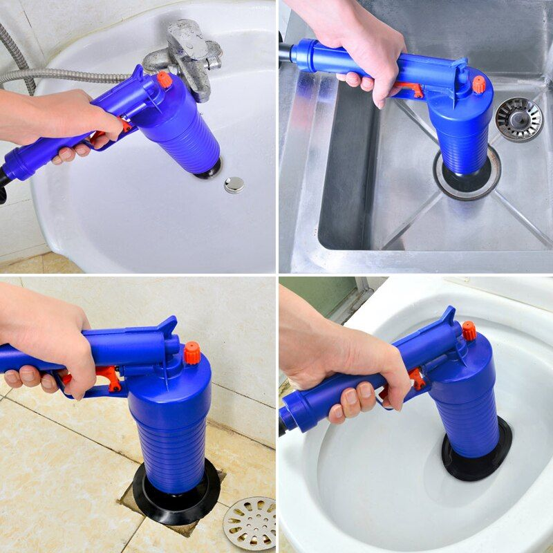 1 Set Cleaning Home Kitchen Toilets Bathroom Sink Pipe Clog Remover Tool Home High Pressure Air Drain Blaster Pump Plunger Tools