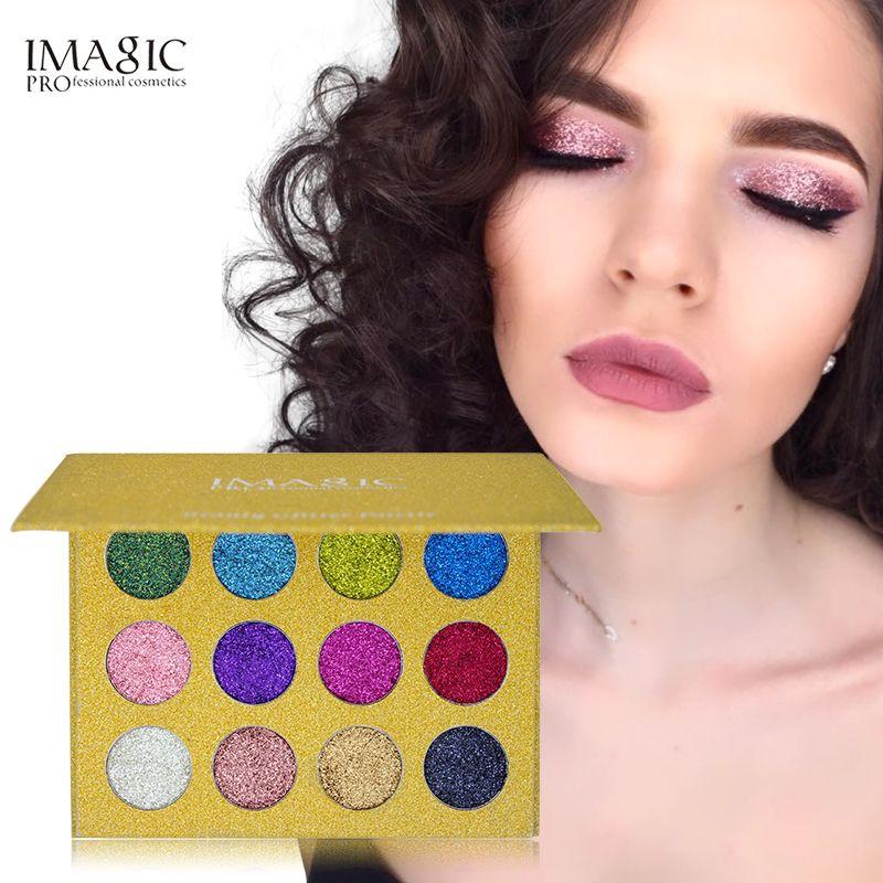 IMAGIC 12 Color Glitter Injections Pressed Glitters Single Eyeshadow Diamond Rainbow Make Up Cosmetic Eye shadow Magnet Palette