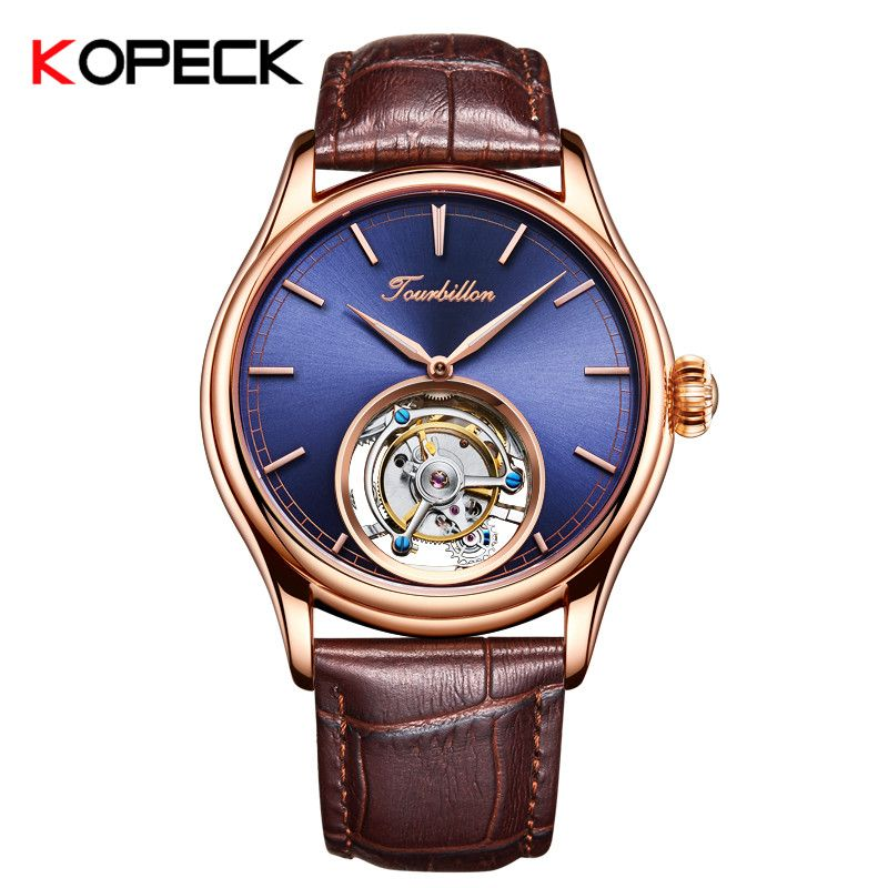 100% echt Tourbillon Männer Uhr KOPECK Mechanische Uhren Top Marke Luxus Tourbillon Bewegung Herren Uhren montre homme 7005G