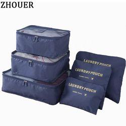2017 Populaire Voyage Sacs 6 pcs/ensemble Double Fermeture Éclair Étanche Nécessaire Bagages Sac Emballage Cubes Multifonction Pliant Sac HW128Z