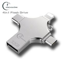 Ingelon Usb Flash 16gb 32gb 64gb 128gb Pendrive USB-C Type C Smartphone DIY LOGO micro USB otg Memory Stick for iphone ios phone