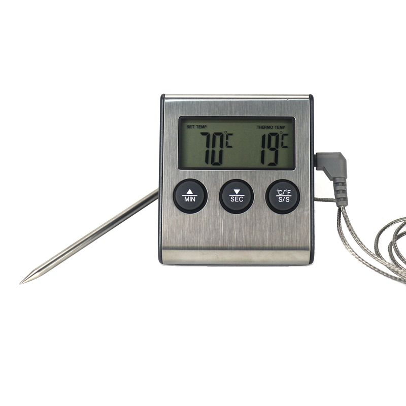 Digital BBQ Cooking Oven Thermometer Meat Kitchen Food Temperature Meter for Grill Timer Function with Stainless Steel Probe