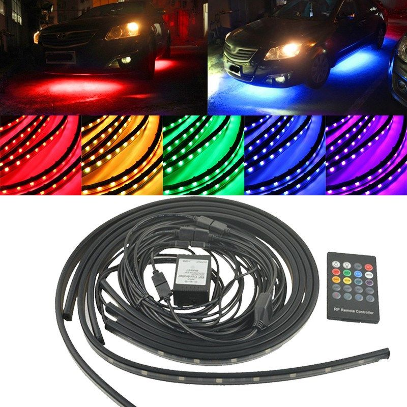 4pcs RGB 5050 SMD LED Strip Under Car Tube Underglow Underbody System Neon Light Tube Kit Waterproof Wireless Control DC12V