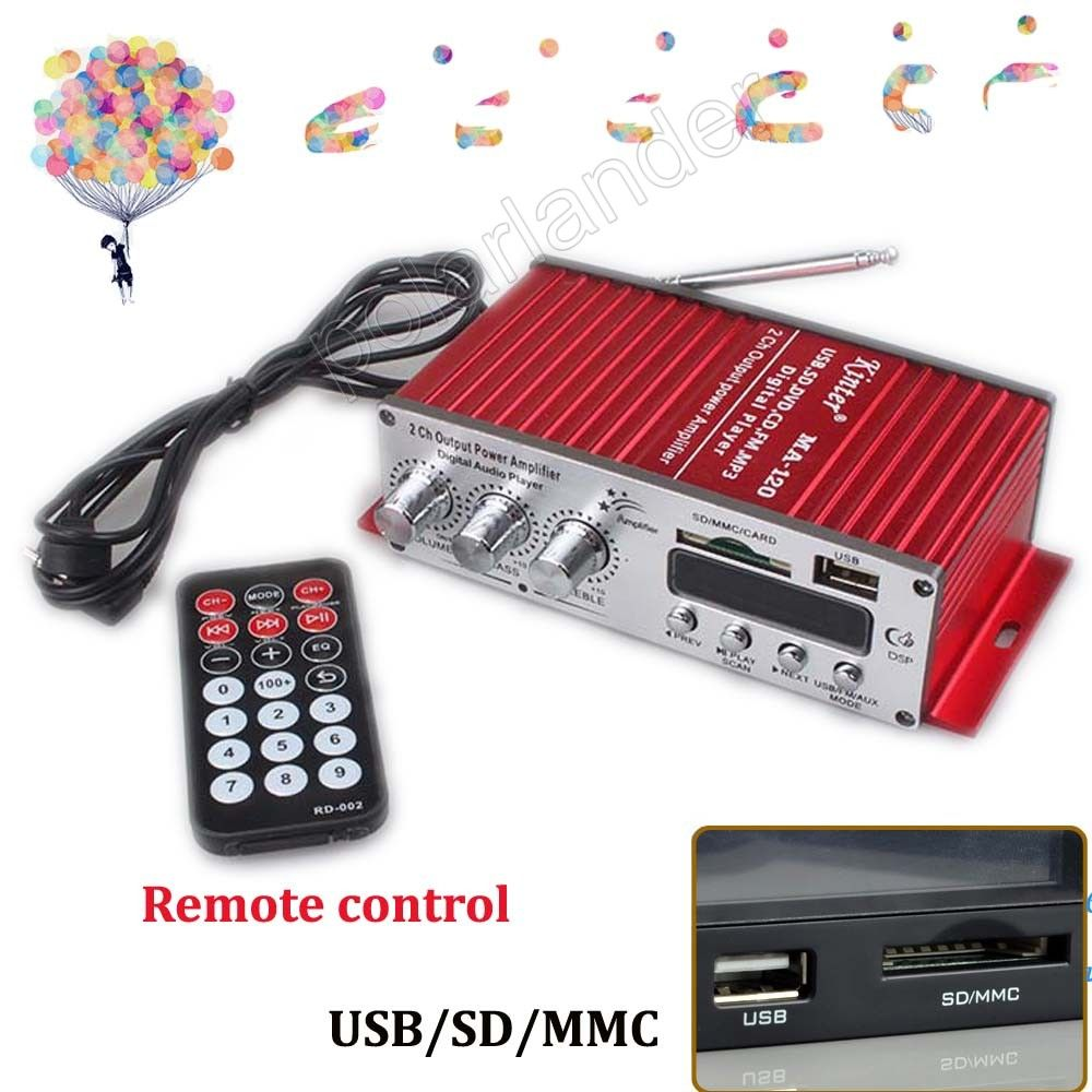 20WX2 RMS output power amplifier 2 Channel Car stereo audio Amplifier USB SD CD FM MP3 Audio Player Remote Control