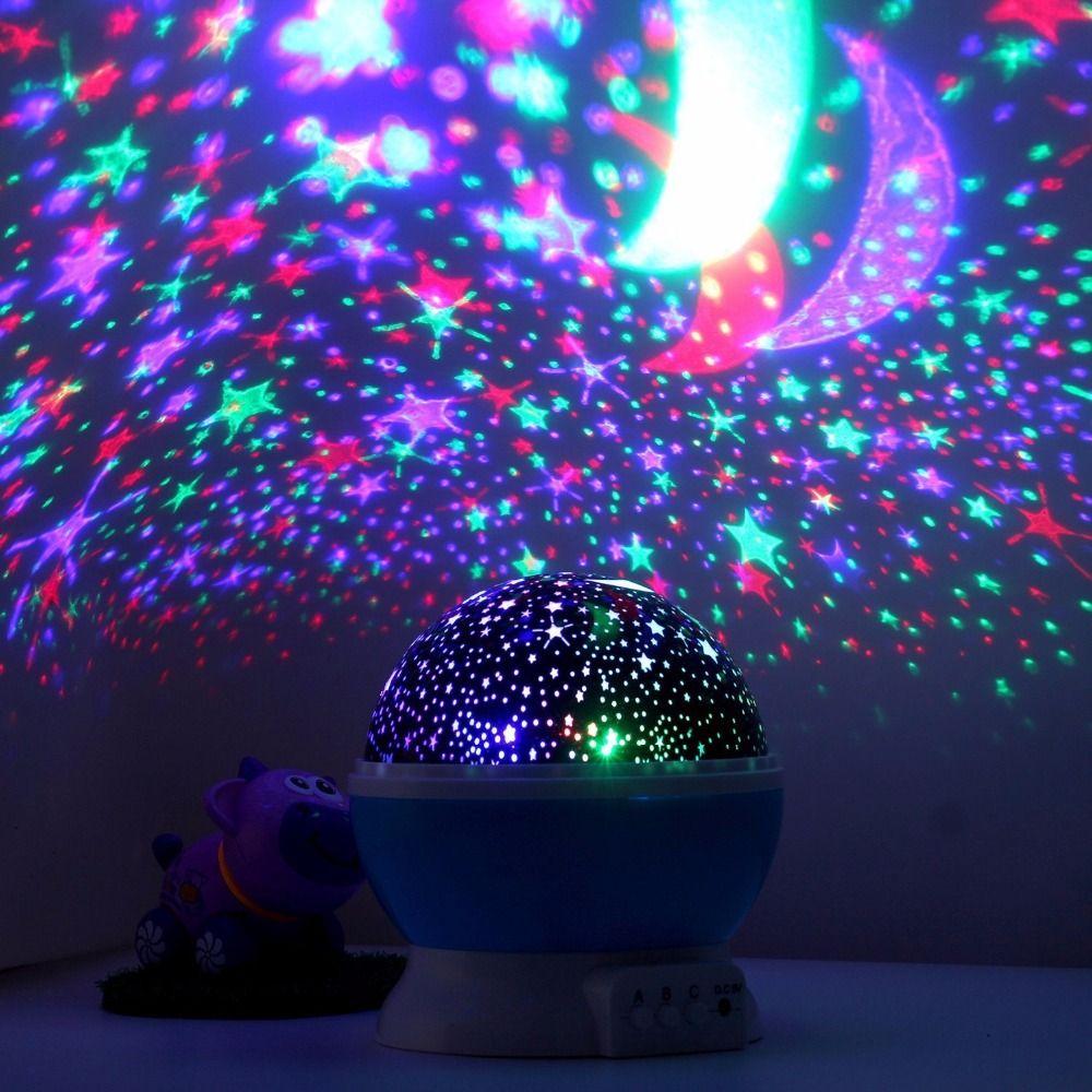 Holigoo Romantic Rotating Spin Night Light Projector Sky <font><b>Star</b></font> Moon Master USB Lamp Led Projection For Kids Baby Sleep Lighting