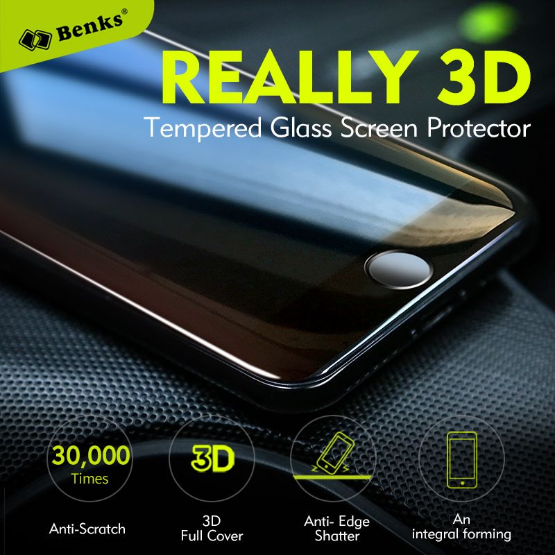 Benks <font><b>KingKong</b></font> Anti-scratch Coating Screen Protector For iPhone 7 8 Plus Protective Glass 3D Curved Edge Full Cover Glass Film