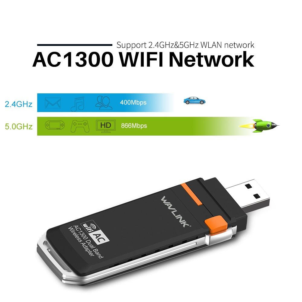 Wavlink AC1300 USB 3.0 Mini adaptateur Dongle WIFI 2.4G/5G carte réseau sans fil double bande wifi prend en charge Windows XP/Vista/7/8/10 PC