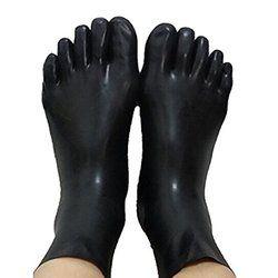 Unisex kaus kaki lateks fetish karet 5 jari kaki kaus kaki kaus kaki pendek Kulit jari kaki ukuran S, M, L