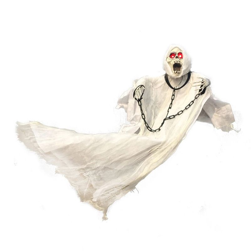36inch 90cm <font><b>Tall</b></font> White Halloween Decoration Hanging Ghost with Chain Light up Eyes Sound and Sensor for Halloween Props