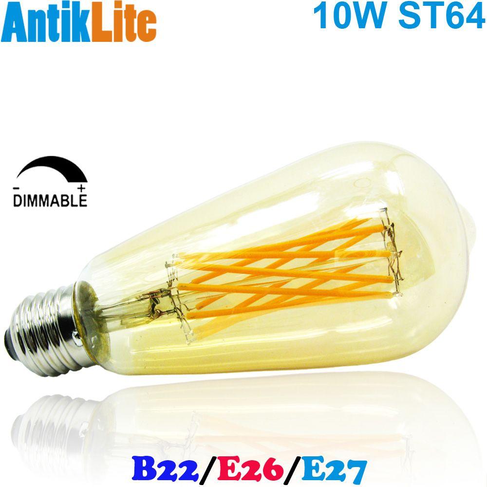 E26/E27 Medium Screw Base ST64/ST21 Nipple Tipped Golden Glass Incandescent Style Thread LED Filament Edison Light Bulb 10W/10/W