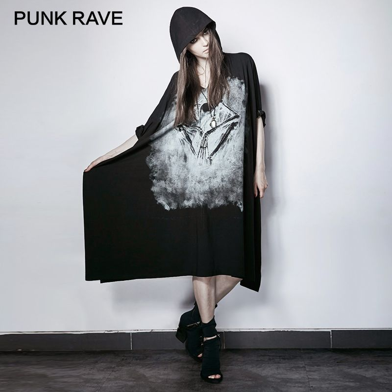 PUNK RAVE Punk Black Bone Ghost Film Printing Dresses Rock Loose Bat Sleeve with Cap Women Halloween Party Novelties Harajuku