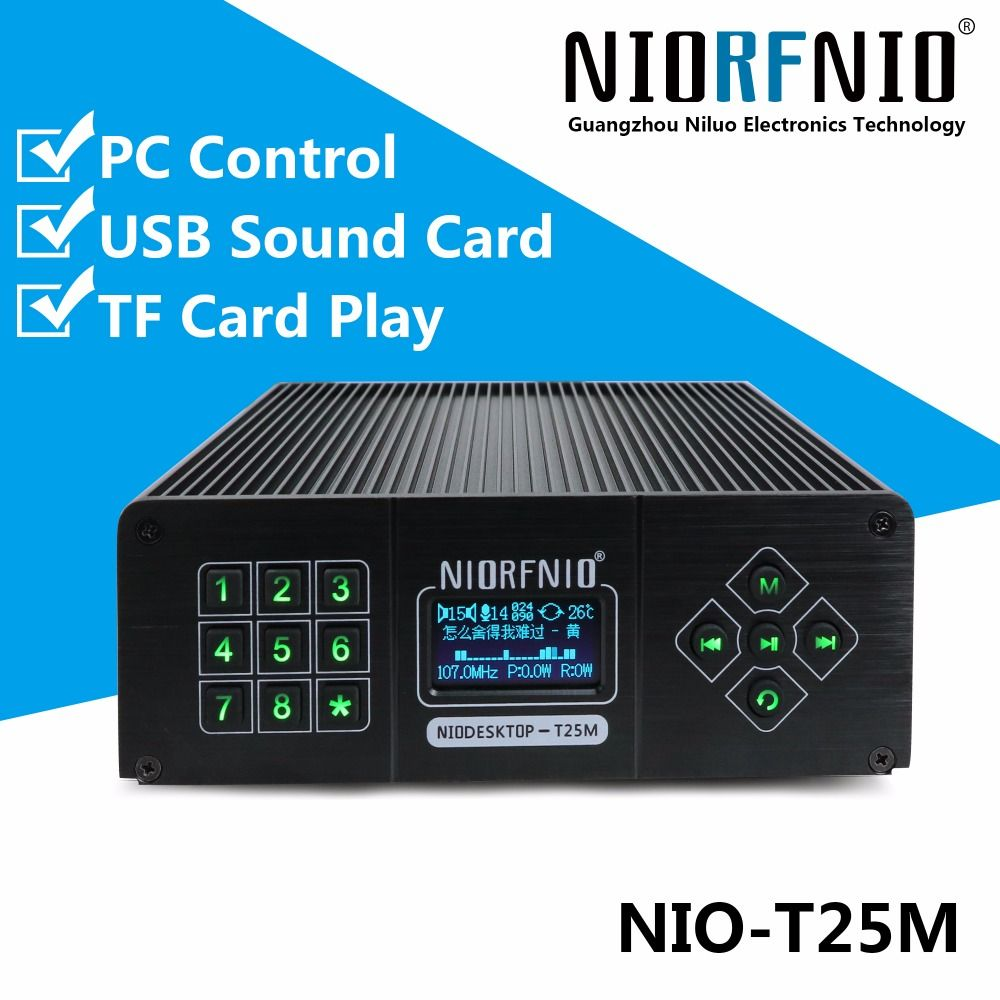 New Arrival T25M 0~25 Watt Power Transmitter PLL FM Radio Station Kit+ Audio Cable+USB line+Anti-collision Antenna