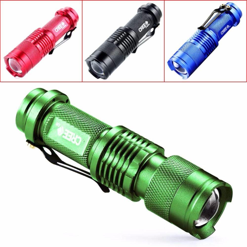Mini Flashlight Zoomable CREE Q5 2000 Lumens ZOOM Tactical AA 14500 Battery Flashlight Torch Lamp Portable Lantern 3 Modes