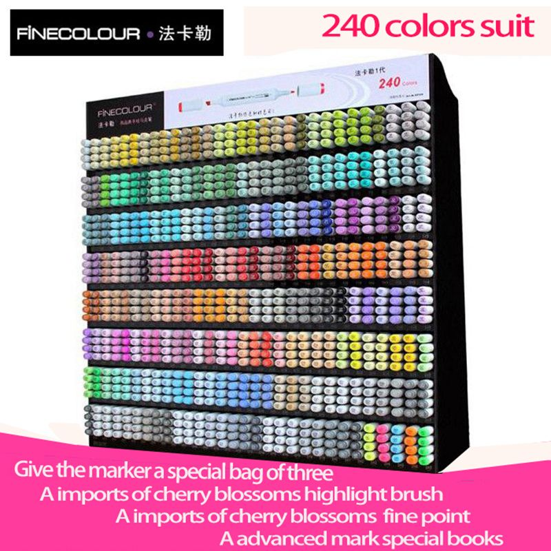 Finecolour one generations Students Anime Hand-painted Double Oily art Mark Pen 240 Color suit Professional design Manga Marker
