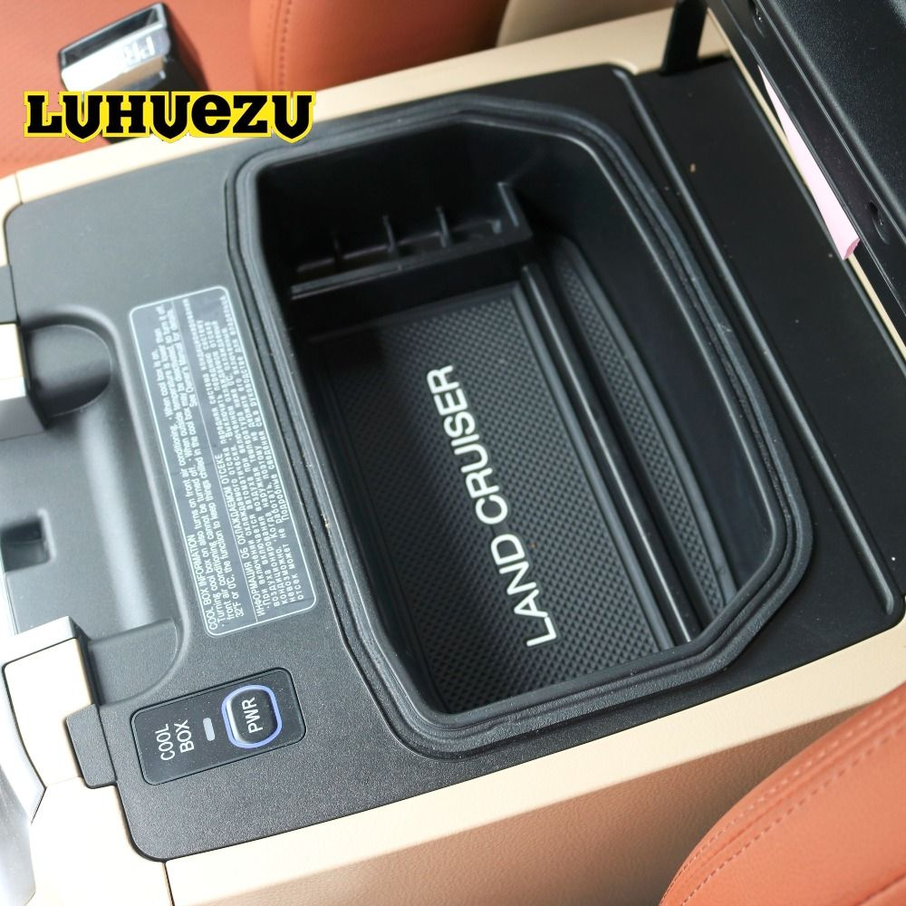 Luhuezu Non-Slip Mat In Central Armrest Container Holder Stowing Box For Toyota Land Cruiser 200 FJ 200 Accessories 2004-2016